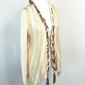 BKE Gimmick Cardigan Open Front Mixed Media Size M